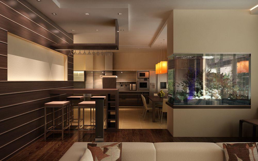Как смотрится аквариум в стене между комнатами 7  фото?Квадратный аквариум в интерьере городской квартиры на следующем фото используется для разделения пространства  гостиной и столовой частного дома